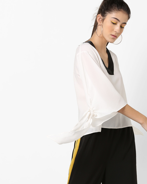 V-neck Top With Flared Tie-Up Sleeves By AJIO ( White )
