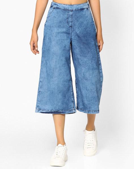Denim Culottes With Side Zip By AJIO ( Lightblue )