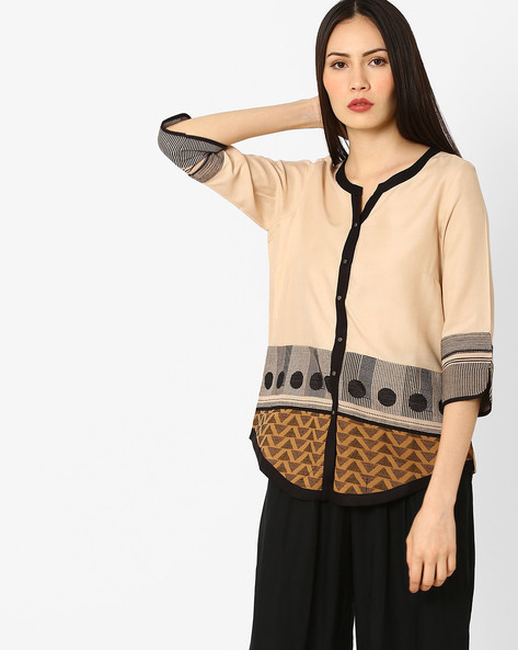 Printed Tunic With Curved Hem By W ( Beige )