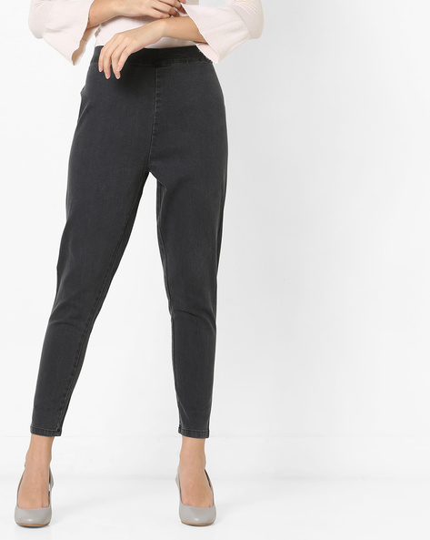 Mid-Rise Ankle-Length Jeggings By AURELIA ( Grey )