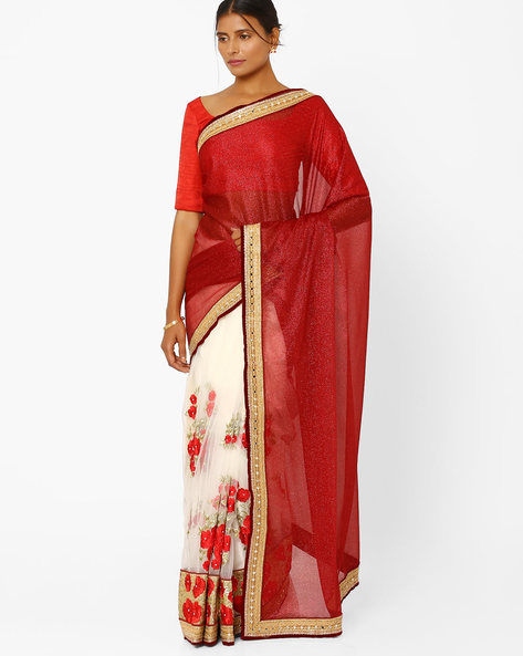 Silk Georgette & Net Designer Saree By RCPC ( Maroon )
