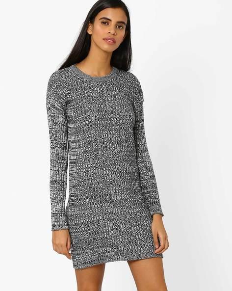 Ribbed Bodycon Sweater Dress By AJIO ( Black )