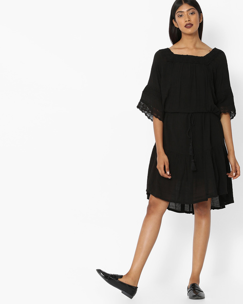 Fit & Flare Dress With Drawstring Waist By Tokyo Talkies ( Black )