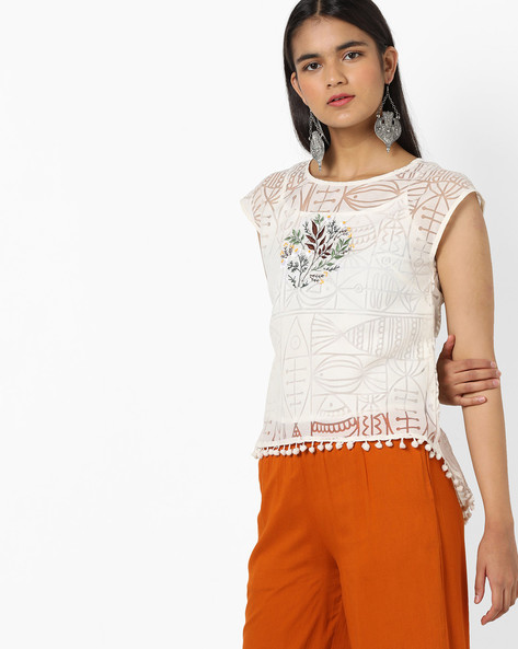 High-Low Top With Embroidery By AJIO ( White )