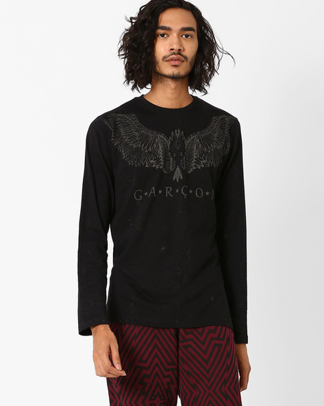 Placement Print T-shirt By Garcon ( Black )