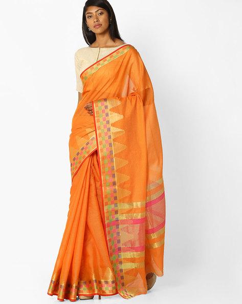 Saree With Contrast Checked Border By SHRIKALA ( Orange )