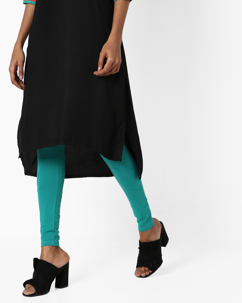 Cotton Churidar Leggings With Elasticated Waistband By SOCH ( Teal )