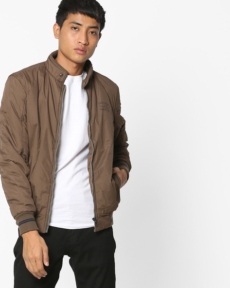 Bomber Jacket With Band Collar By Fort Collins ( Khaki )