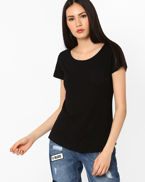 Crew-Neck Top With Patch Pocket By Fame Forever By Lifestyle ( Black )
