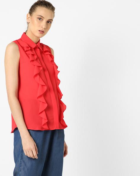 Sleeveless Shirt Top With Ruffles By AJIO ( Red )