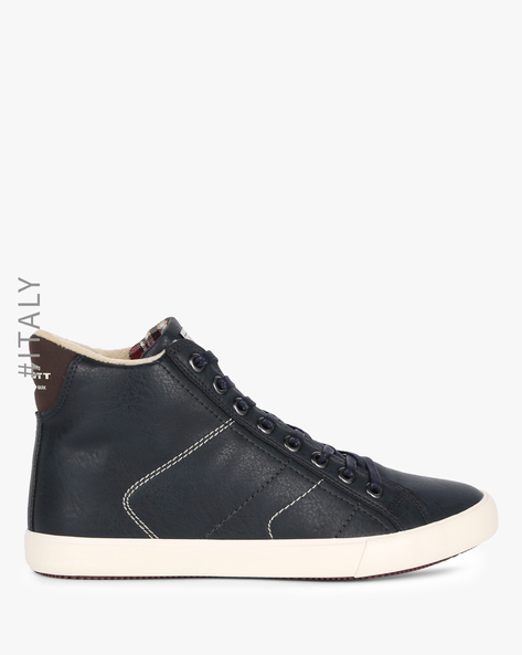 Panelled High-Top Casual Shoes By ALCOTT ( Navy )