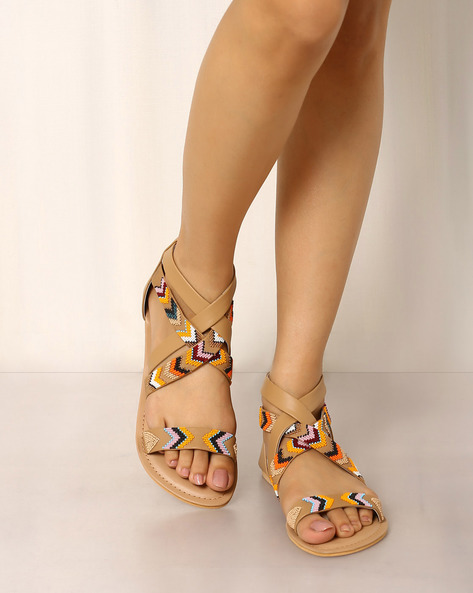 Beaded Sandals With Ankle Straps By Indie Picks ( Brown )