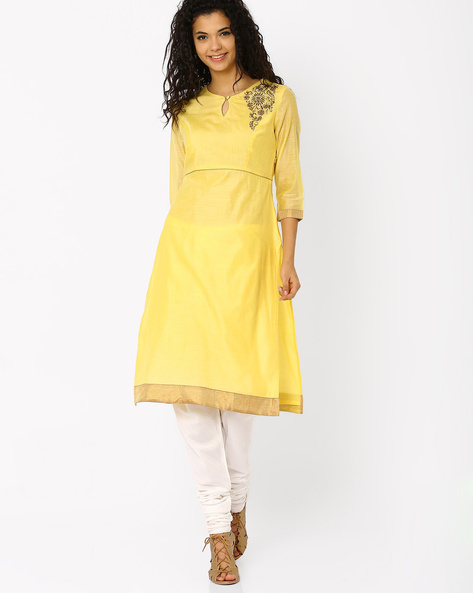 Chanderi Kurta With Hand Embroidery By AJIO ( Yellow )