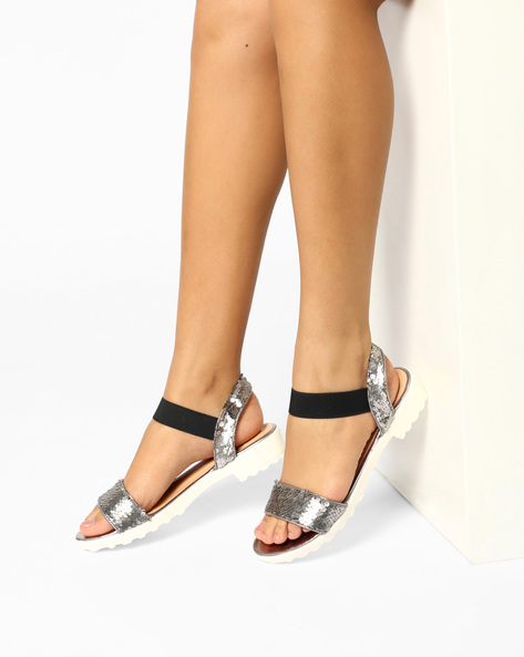 Ankle Strap Sandals With Sequin Embellishments By Carlton London ( Grey )