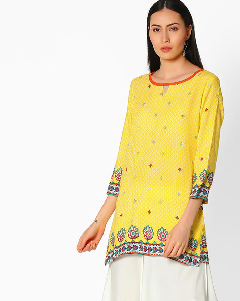 Printed Rayon Kurta By Juniper ( Yellow )