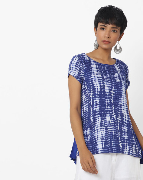 Tie & Dye Top With Contrast Panel By Indusdiva ( Navyblue )