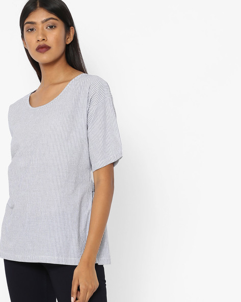 Striped Crew-Neck Top By Project Eve WW Casual ( Blue )