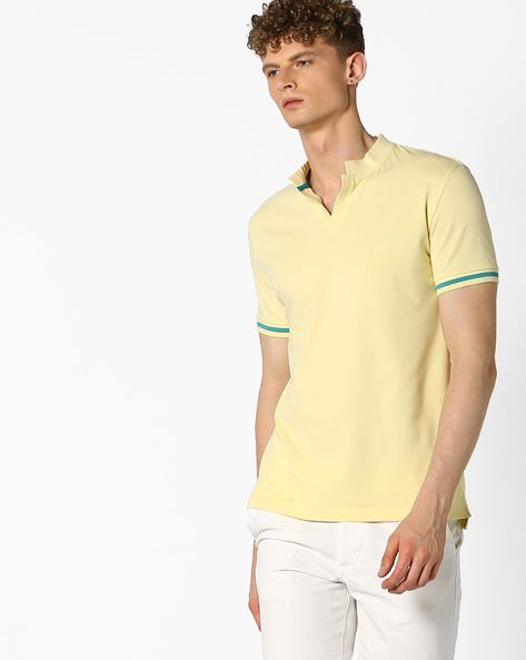 Pique Knit Cotton T-shirt By UNITED COLORS OF BENETTON ( Yellow )