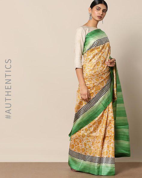 Handloom Pure Silk Tussar Printed Saree By Indie Picks ( Multi ) - 460147007001