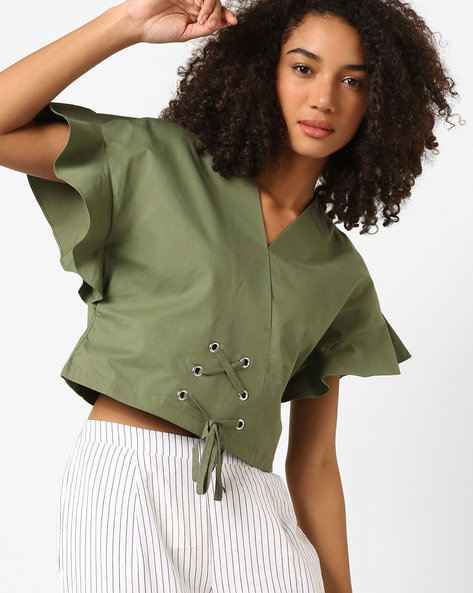 Lace-Up Tops With Surplice Neckline By AJIO ( Olive )