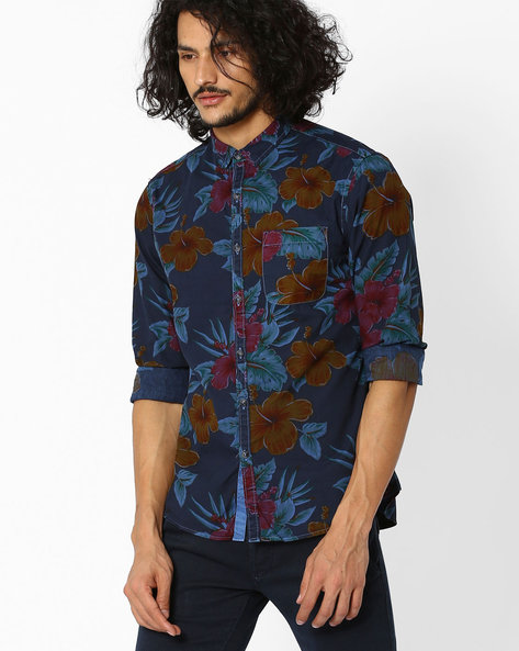Floral Print Slim Fit Shirt By AJIO ( Navyblue ) - 460021200006