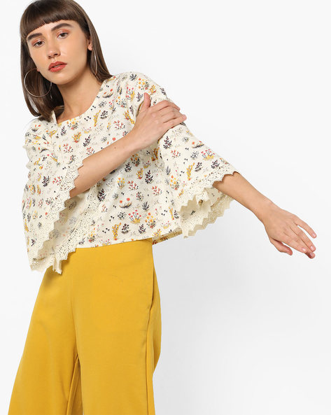 Floral Print Crop Top With Bell Sleeves By AJIO ( Offwhite )
