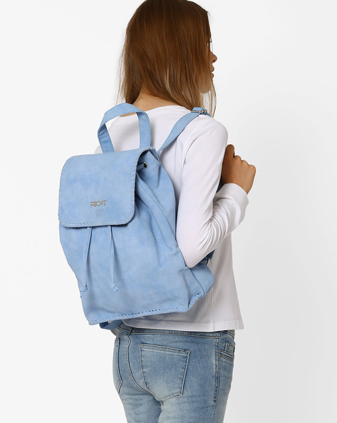 Backpack With Whipstitch Detail By Pockit ( Lightblue )