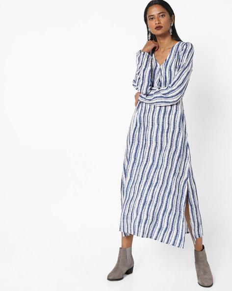 Printed Shift Dress By AJIO ( Blue )