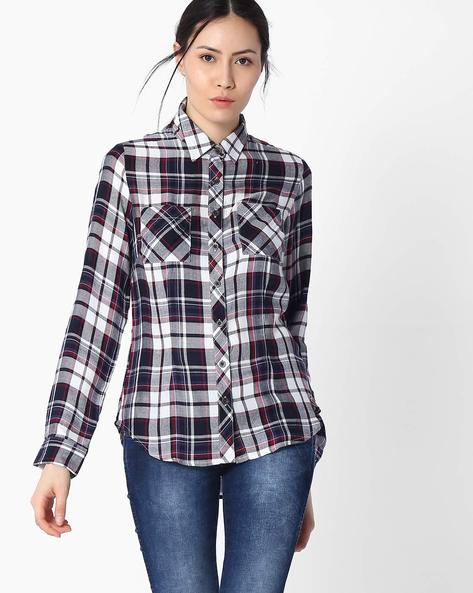 Checked Shirt With Roll-Up Sleeves By DNM X ( Navy )