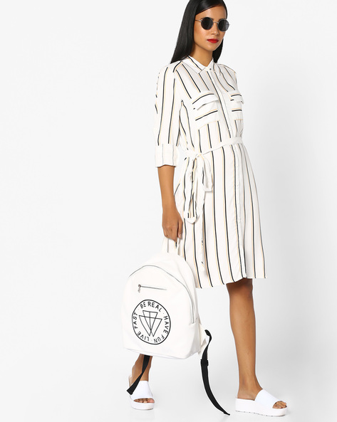 Striped Shirt Dress With Tie-Up By FIG ( Offwhite )