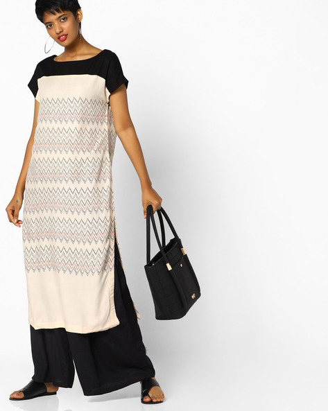 Printed Straight Kurta With Insert Pockets By Project Eve IW Casual ( Offwhite )