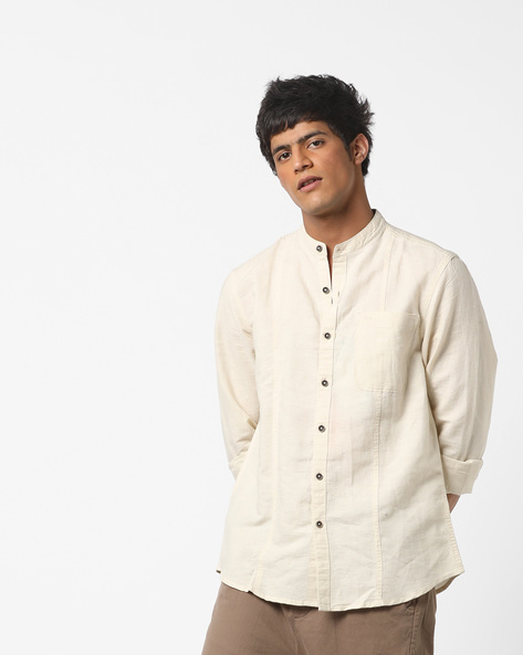 Panelled Slim Fit Shirt By Lee ( Cream )