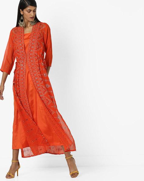 Straight Kurta With Printed Jacket By Global Desi ( Orange )
