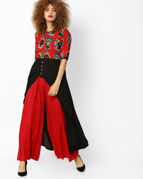 Printed Flared Kurta With Front Slit By Desi Weaves ( Red )