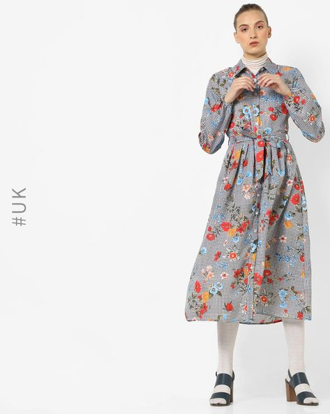 Floral Print Dress With Tie-Up By OEUVRE ( Multi )
