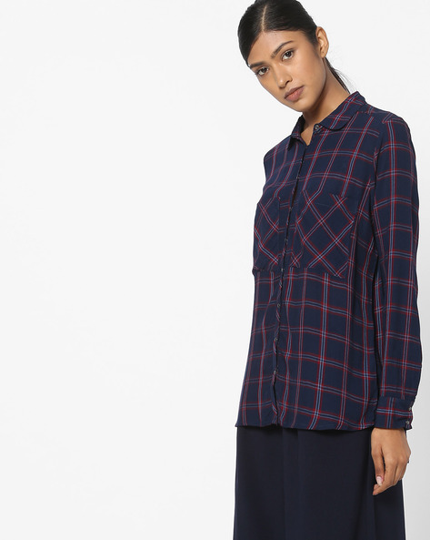 Checked Shirt With Patch Pockets By DNMX ( Navy )