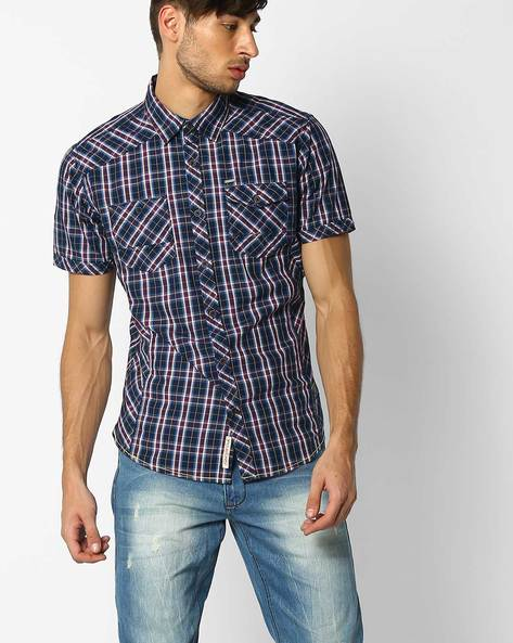 Checked Shirt With Short Sleeves By DNM X ( Blue )