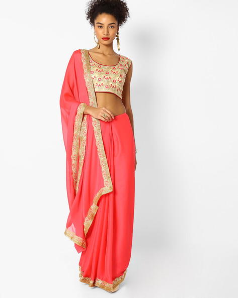 Woven Saree With Embroidered Border By Majestic Silk ( Pink )
