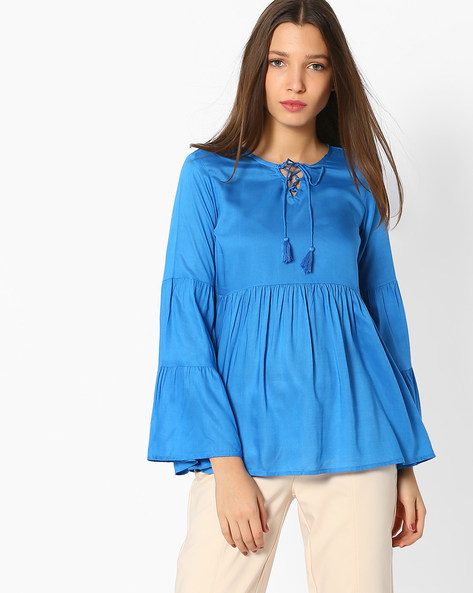 Panelled Top With Tiered Sleeves By And ( Blue )