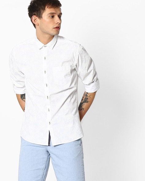 Floral Print Slim Fit Shirt By NETPLAY ( White )