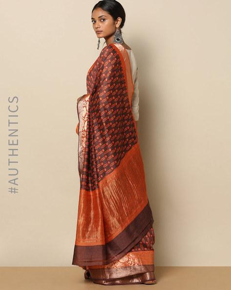 Pure Silk Tussar Floral Buti Print Saree By Rudrakaashe-MSU ( Multi )