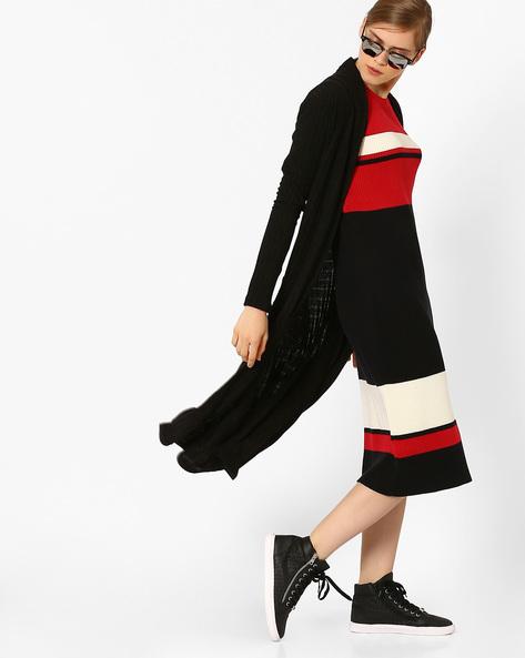 Colourblock Bodycon Dress By AJIO ( Black )