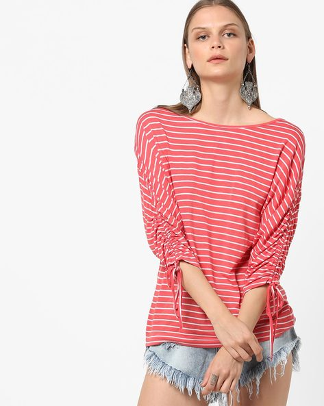 Striped Top With Tie-Up Sleeves By Femella ( Coral )