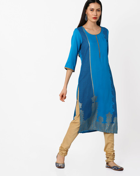 Printed Straight Kurta By AURELIA ( Blue ) - 440772901001