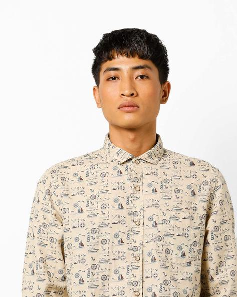 Printed Slim Fit Shirt With Patch Pocket By FLYING MACHINE ( Beige )