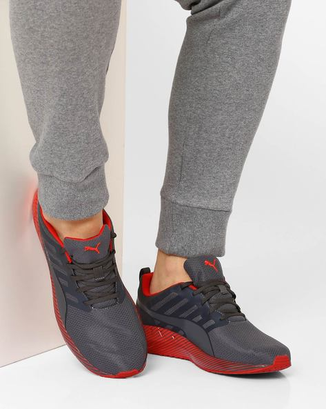 Flare Stripes Lace-Up Sports Shoes By Puma ( Cherry )
