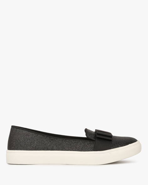 Textured Slip-Ons With Bow Accent By BRASH ( Black )