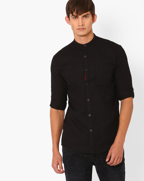 Slim Fit Casual Shirt By Nature Casuals ( Black )