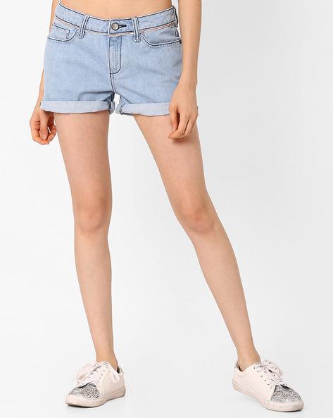 Denim Shorts With Upturned Hems By AJIO ( Lightblue )