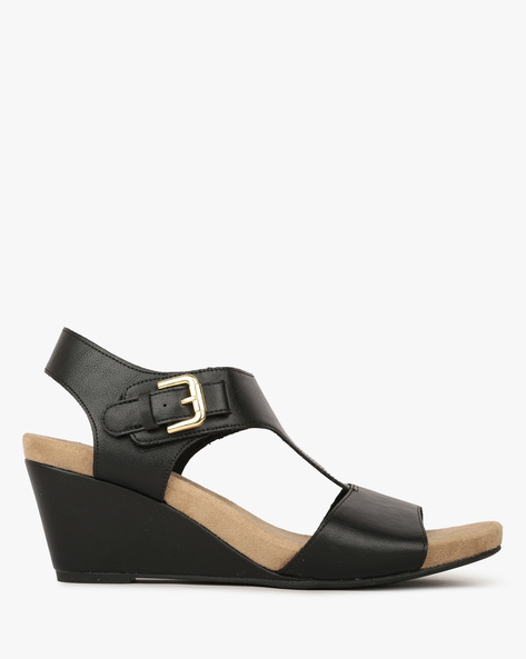 Slingback Strappy Wedges With Buckle Closure By COMFORT PLUS ( Black )